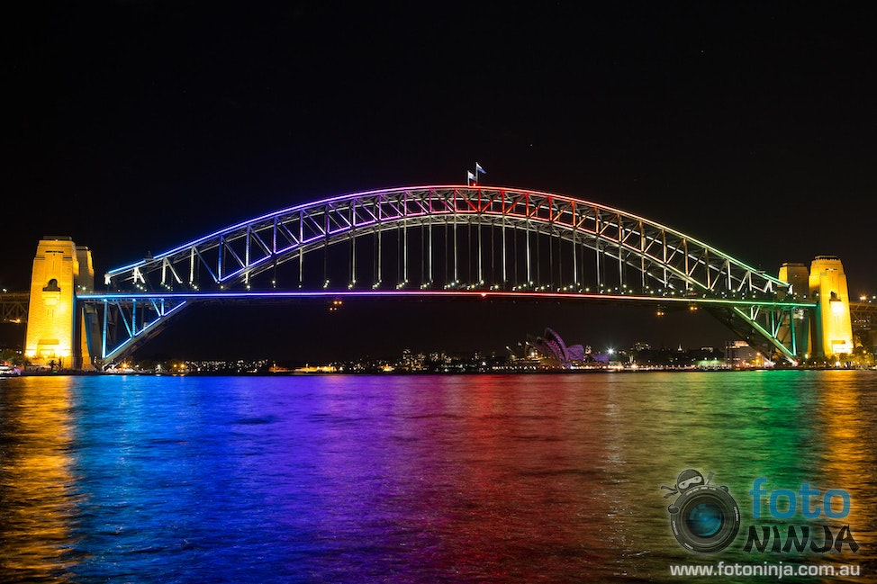 Sydney Harbour Bridge during VIVID 2013 - View of Sydney Harbour Bridge from McMahons Point (Image #2N7A3071) *Please note due to legal restrictions this...