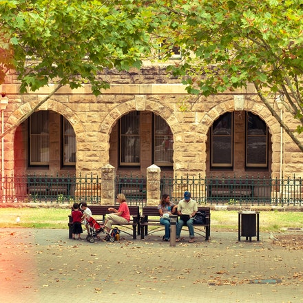 Peoples Priorities - Everyone has the own priorites. People talking a rest outside the Perth Museum.