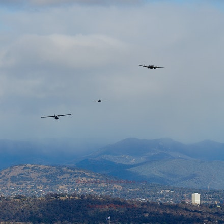 Wirraway, Hudson and Catalina over Canberra