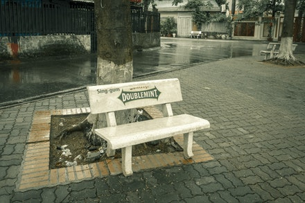 Sing-gum bench - Wrigleys gum - that took me back a few years!