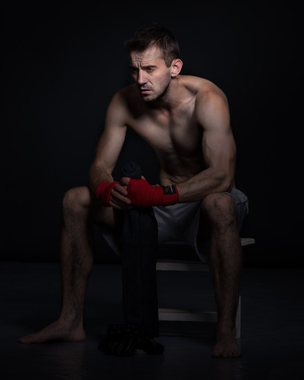 After the fight - Not all my portraits of of happy, smiling people. This is from a studio shoot with Rob. We wanted to capture a fighter's sense of loss...