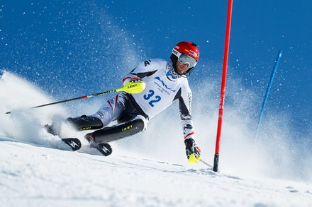 140813_FIS_SL1_3464 - Athlete competing in SSA FIS Slalom race on Hypertrail at Perisher, NSW (Australia) on August 13 2014. Jan Vokaty