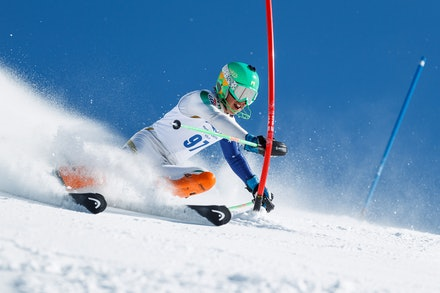 140813_FIS_SL1_3432 - Athlete competing in SSA FIS Slalom race on Hypertrail at Perisher, NSW (Australia) on August 13 2014. Jan Vokaty