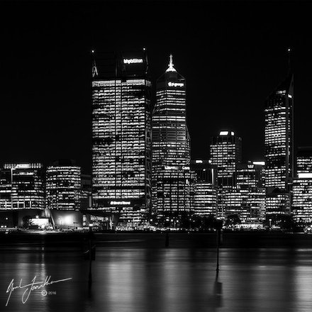 Perth City Night BW1
