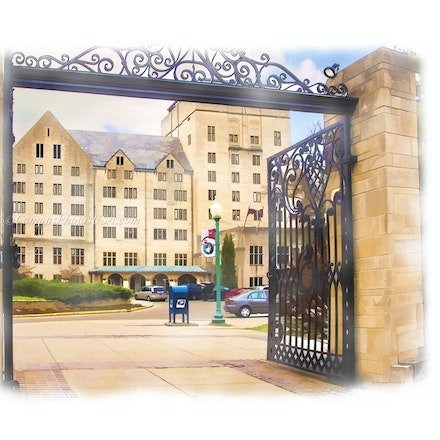 Indiana Memorial Union Gateway, Indiana University/Digital Watercolor_2436_0409 - Photo by Campus Photos USA. The Indiana Memorial Union, fondly known...