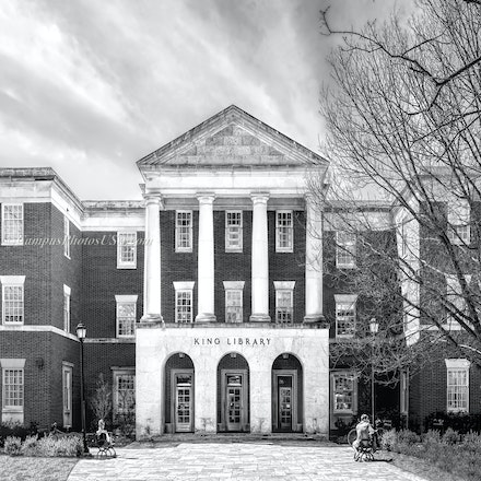 King Library, Miami University/Black and White Photo_12x36_968_976 - Photo by Campus Photos USA. King Library, located on the college campus of MIami University,...