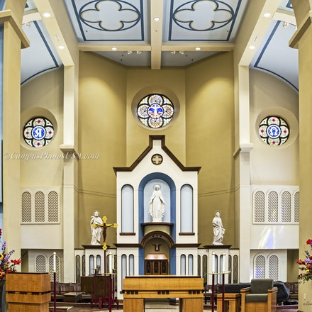 Chapel of the Immaculate Conception, Remodeled Interior 2015, University of Dayton.16x24.2..2958 - Photo by Campus Photos USA. (Color Photo) The Chapel...