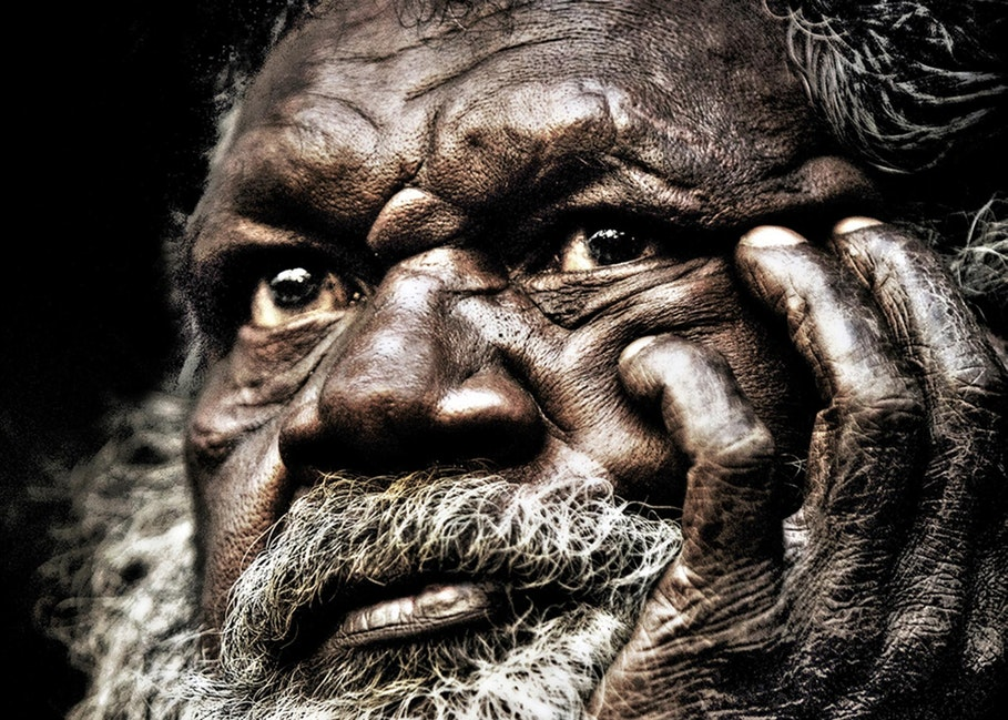 hori wise eyes - Tommy George Junior, Elder of the Kuku Thaypan people, resident of the small town of Laura.  Picture by Cathy Finch
