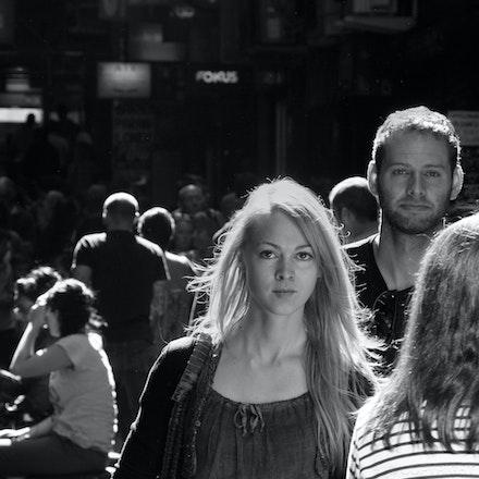 The Couple - A couple walks down a Melbourne city laneway