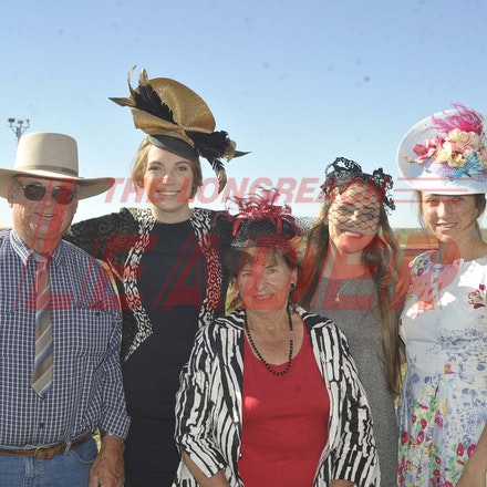 160709_SR22484 - Ray Taylor, Heidi Hatch, Betty Taylor, Jacklenn Dart and Annabel Hatch at the Ilfracombe Races, Saturday July 9, 2016.  sr/Photo by Sam...