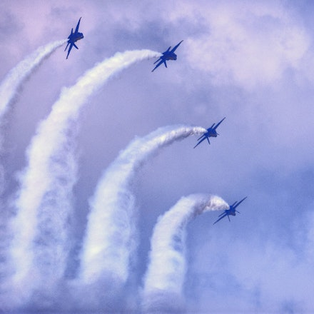 Rolling Out    5.8.2016.4 - Rolling Out. Four f18's arc through the sky during a 2017 airshow performance in Lincoln, Nebraska. #blueangels #airplanes...