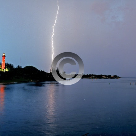 JUPITER LIGHTENING 0610 - Jupiter Lighthouse with lightening 1999