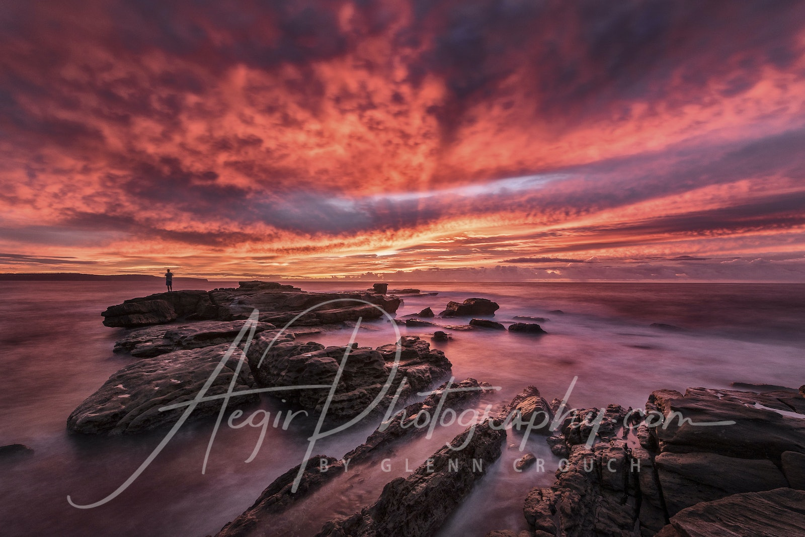 Colour Explosion - Colour bomb sunrise over Palm beach rockshelf, on the northern beaches of Sydney, Australia